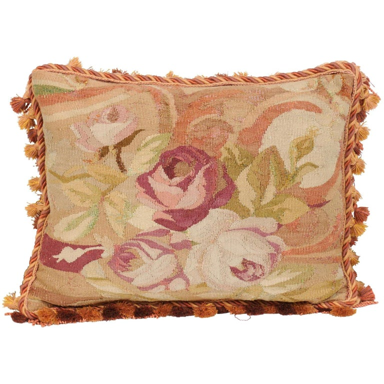 French 19th Century Aubusson Tapestry Pillow with Bouquet of Roses and Cording For Sale