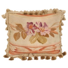 19th Century French Aubusson Tapestry Pillow with Purple Flowers and Tassels