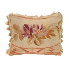 French Aubusson Tapestry 19th Century Pillow with Purple Floral Décor, Tassels