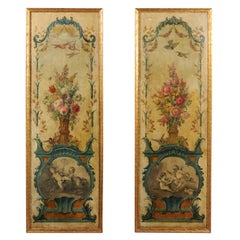 Pair of French 18th Century Louis XV Painted Panels with Floral and Angel Motifs