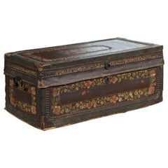 English 1815 Regency Camphor Wood and Leather Trunk with Painted Floral Decor