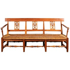 French Provençal Directoire Style 1810s Wooden Bench with Stylized Palmettes