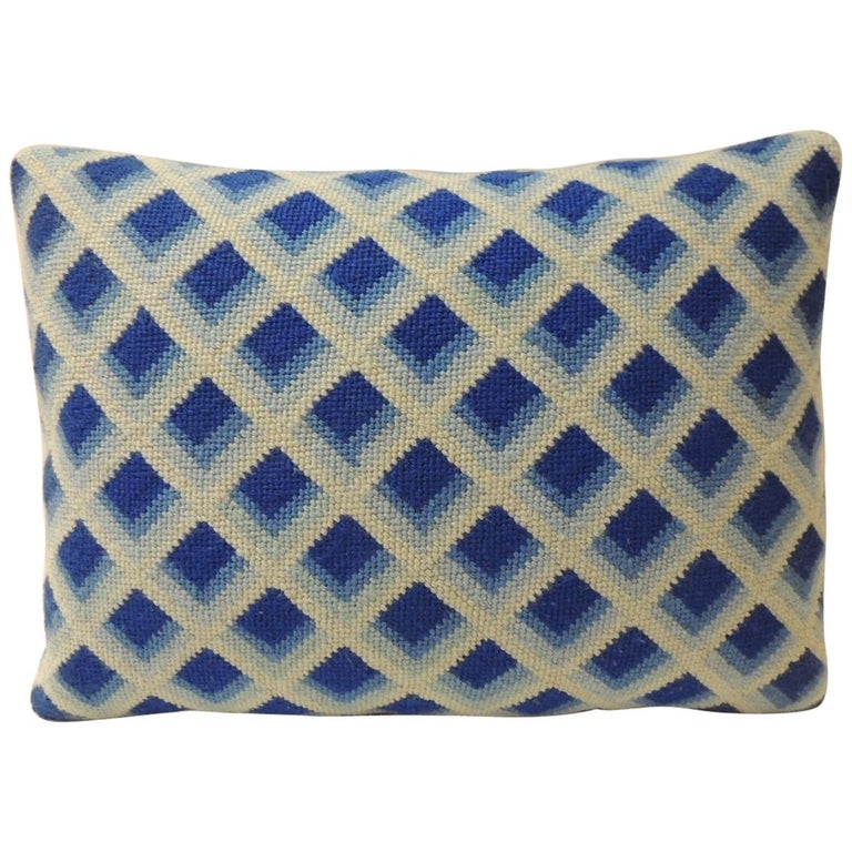 Vintage Blue and White Tapestry Decorative Bolster Pillow For Sale
