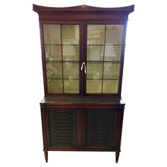 Dark Walnut and Leather Two-Piece Breakfront Rinfret Greenwich, CT China Cabinet