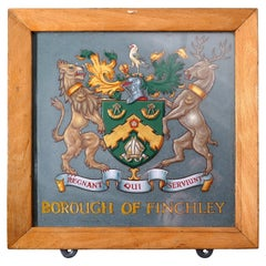Heraldic Crest Framed & Painted on Slate from Borough of Finchley, Coat of Arms