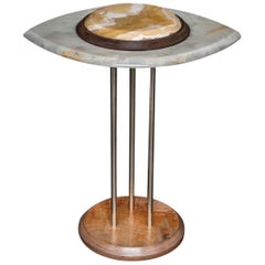 Eye Side Table in White and Ocher