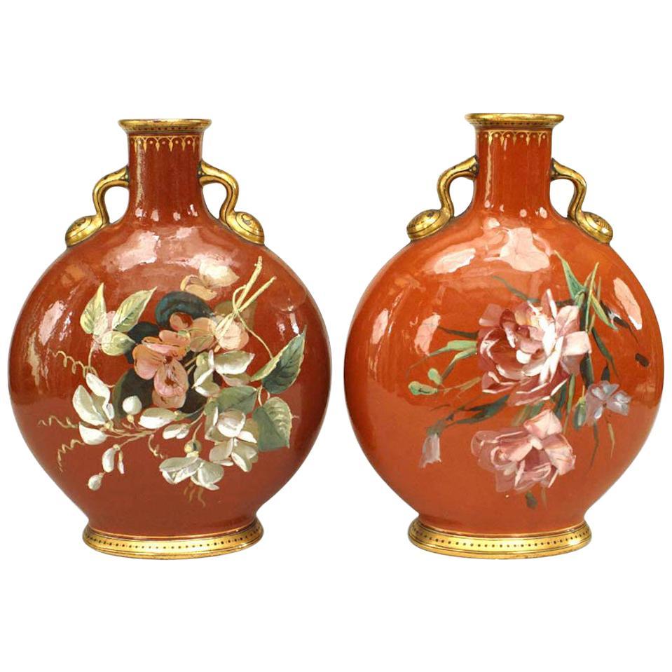 Pair of English Victorian Minton Porcelain Vases