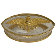 French Cut Crystal and Ormolu Box, Gilded Eagle, circa 1900