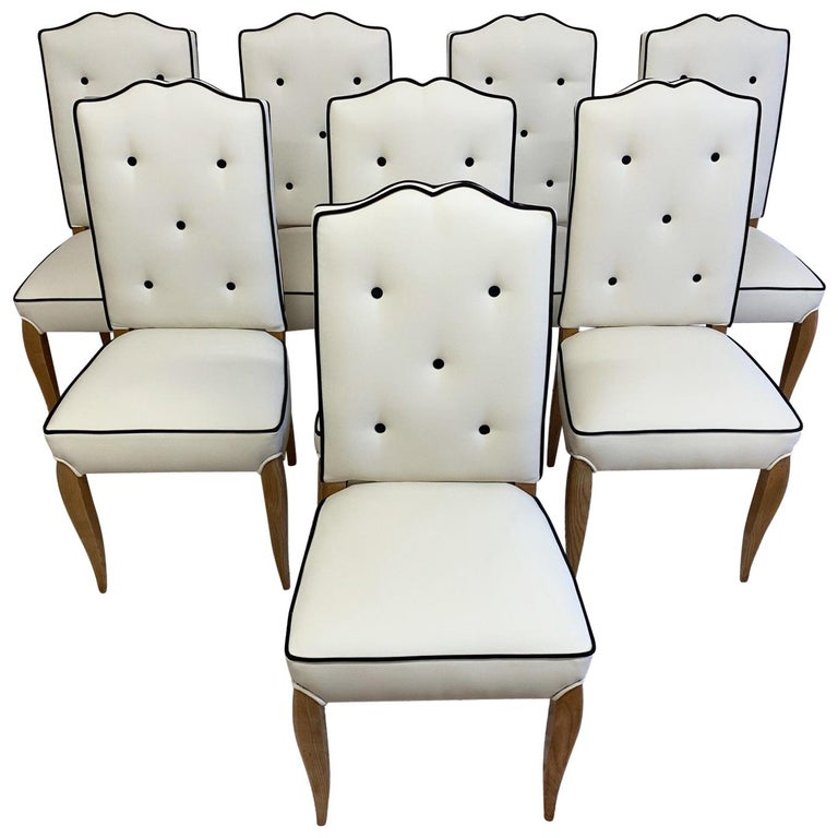 Set of 8 French Art Deco Durmast Dining Chairs, 1930s For Sale