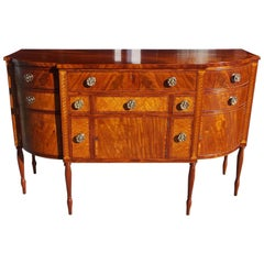 American Sheraton Mahogany and Bird's-Eye Maple Bow Front Sideboard, Circa 1810