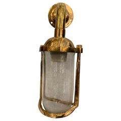 Cast Brass Glass Nautical Ship Wall Sconce Light