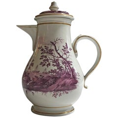 Richard Ginori Mid-18th Century Porcelain Coffee Pot with Landscapes in Purple