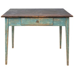 Mid-1800s Blue Painted Table with Black Painted Top