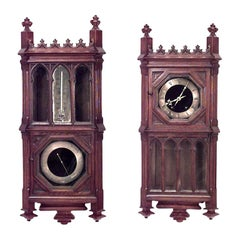 French Victorian Gothic Revival Barometer/Thermometer and Wall Clock Set