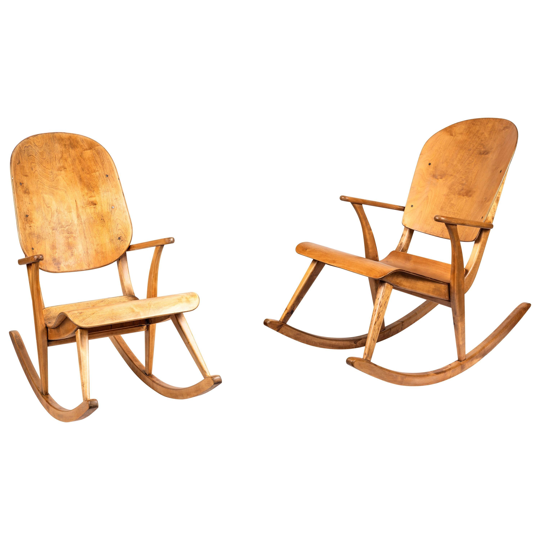 Rare Pair of 1940s Rocking Chairs by Ilmari Tapiovaara