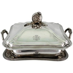 19th Century Embossed Silver French Soup Tureen by Meurice Froment, Paris, 1840s