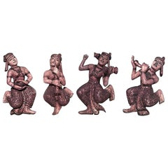 Set of 4 of Asian Siamese Style Small Dancing Hanging Figures