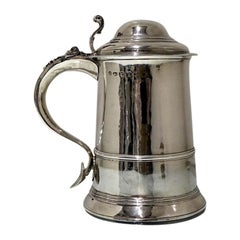 Mid-18th Century Antique George III Sterling Silver Tankard & Cover London 1766