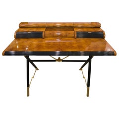 Maison Jansen´s  French Desk  in Lemongrass and Golden Brass, 1970s
