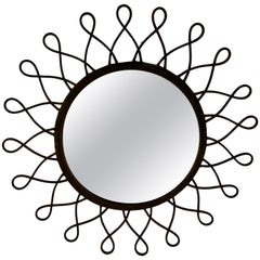 French Midcentury French Wrought Iron Looped Sunburst Wall Mirror