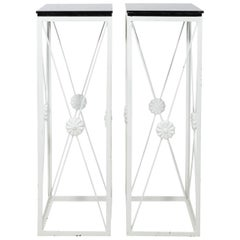 Pair of White Painted Iron Plant Stands, circa 1990