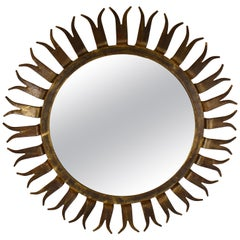 French Midcentury Gilded Wrought Iron Forked Ray Sunburst Wall Mirror