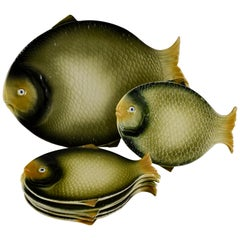Mid-Century Modern Era Northern Italian Faïence Majolica Fish Service, Set of 7