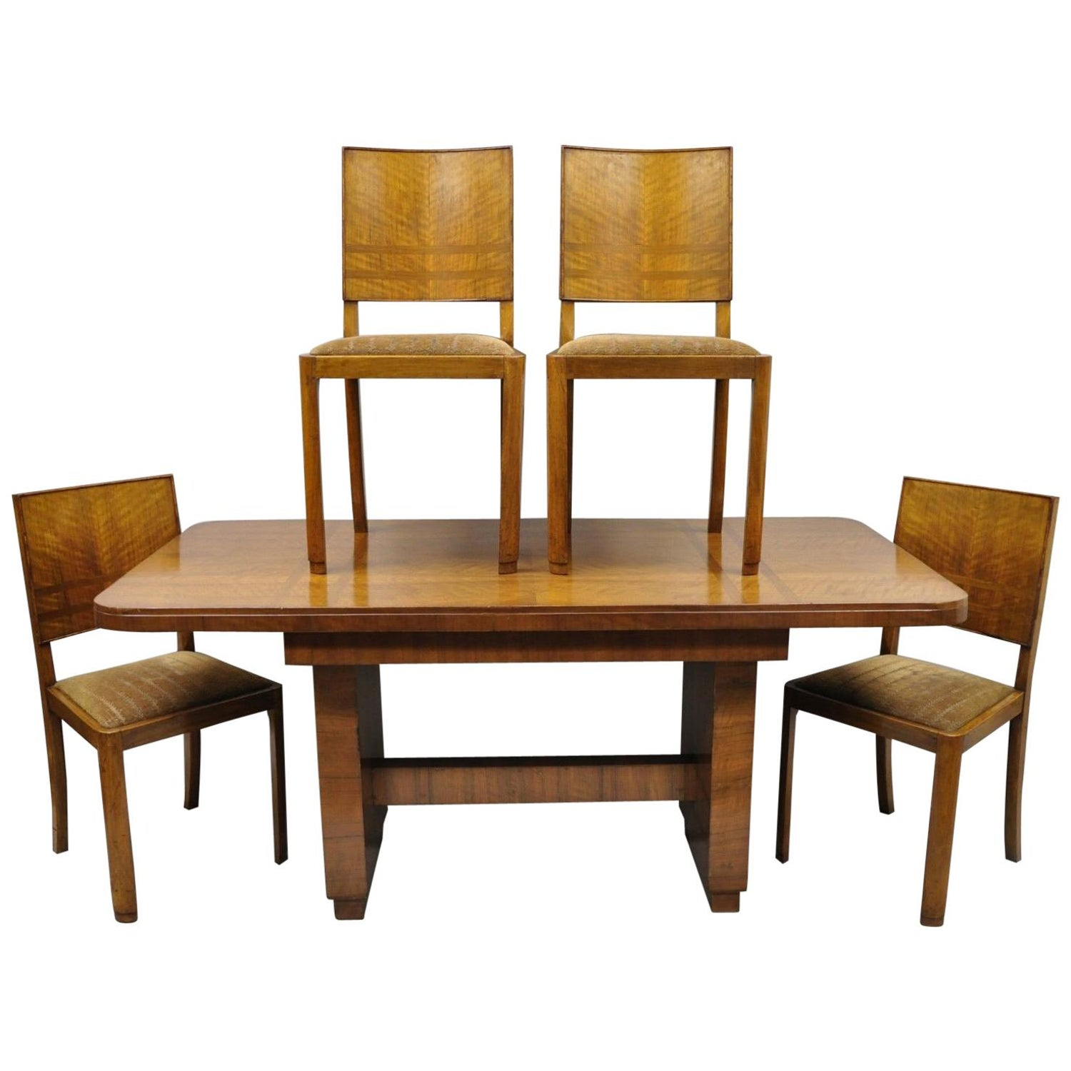 e7c39183947 French Art Deco Mahogany Inlaid Dining Set, 4 Side Chairs and Dining Table  For Sale at 1stdibs