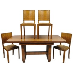 French Art Deco Mahogany Inlaid Dining Set, 4 Side Chairs and Dining Table