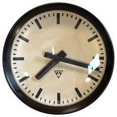 Industrial Bakelite Factory Wall Clock from Pragotron, 1960s