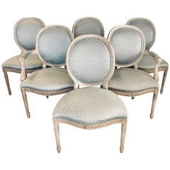 Set of Six French Louis XVI Oval Back Dining Chairs