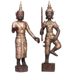 Pair of Thai Gilt and Jeweled Figures