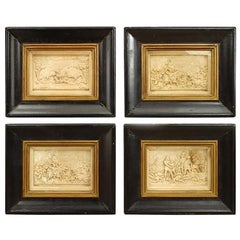 Set of 4 Italian Renaissance Style Carved Soapstone Wall Plaques