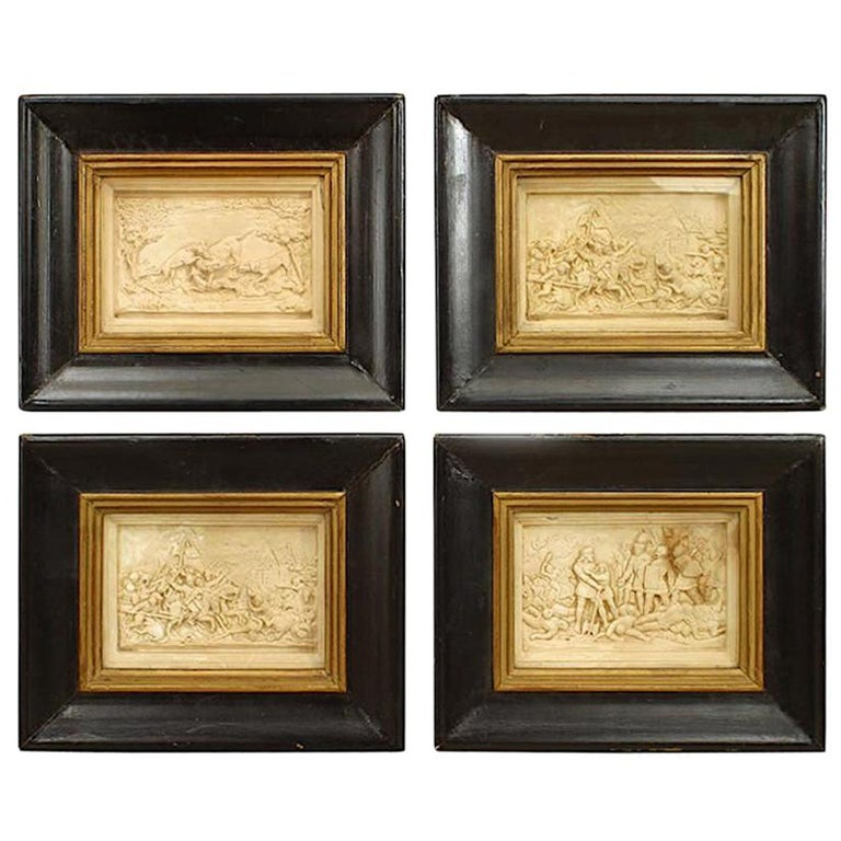 Set of 4 Italian Renaissance Style Carved Soapstone Wall Plaques For Sale