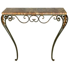 Pair of Marble Topped Iron Console Tables