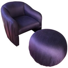 Sculptural Purple Ruched Lounge Chair and Souffle Pouf Ottoman Set, 1980s