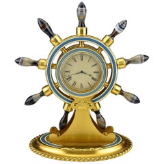 19th Century Alexander & Co. Figural Ship Wheel Clock with Pocket Watch Movement