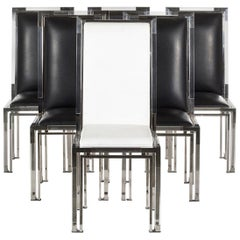6 Dining Chairs in Lucite and Chrome by Charles Hollis Jones, Metric Collection