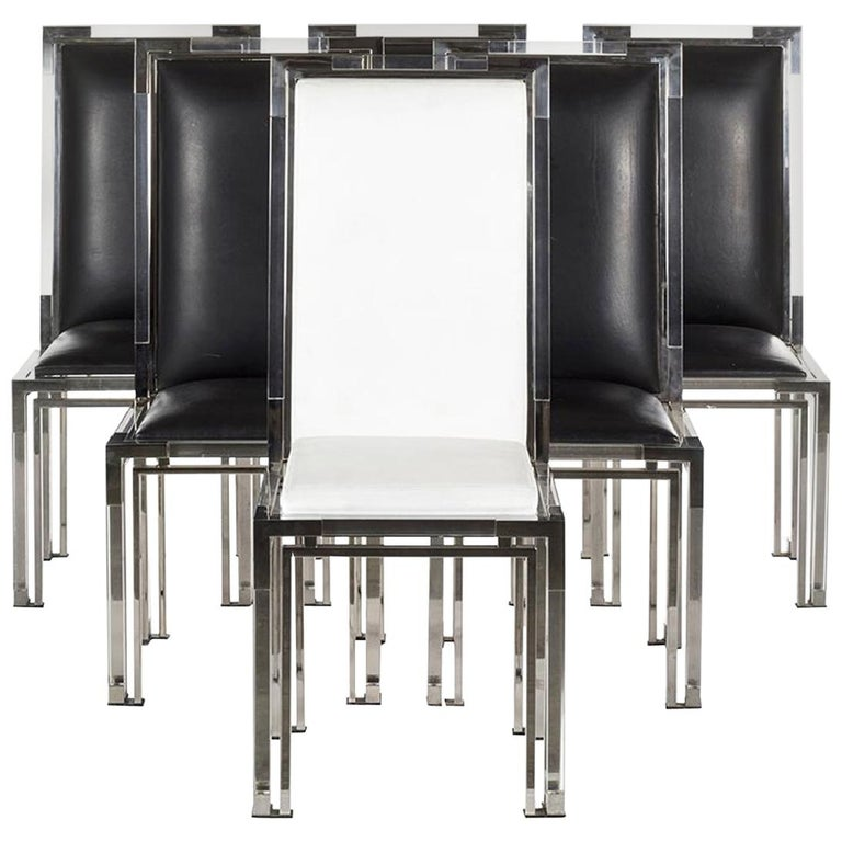 6 Dining Chairs in Lucite and Chrome by Charles Hollis Jones, Metric Collection For Sale