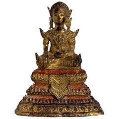 Small Thai Rattanakosin Gilt Bronze Buddha in Royal Attire, 19th Century