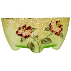 Art Nouveau Square Glass Bowl with Flowers and Ornaments