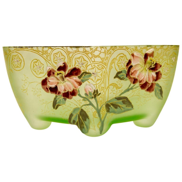 Art Nouveau Square Glass Bowl with Flowers and Ornaments For Sale