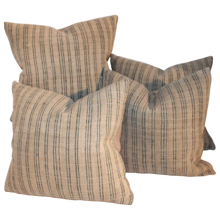 19th Century Linen Ticking Pillows, Pair For Sale