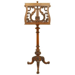 French Victorian Walnut Lyre Music Stand