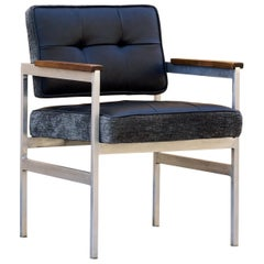 1960s Knoll Style Armchair in Aluminium, Leather and Walnut