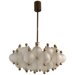Midcentury Glass Balls and Brass Chandelier by Kinkeldey, circa 1960s