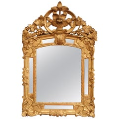 18th Century French Louis XV Carved Giltwood Provencal Mirror with Vine Decor