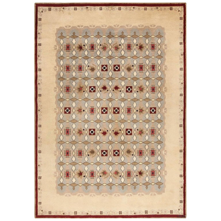 Antique French Art Deco Leleu Rug For Sale