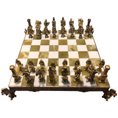 Chess Set Bronze Gold and Silver by Piero Beuzoni/Berfons