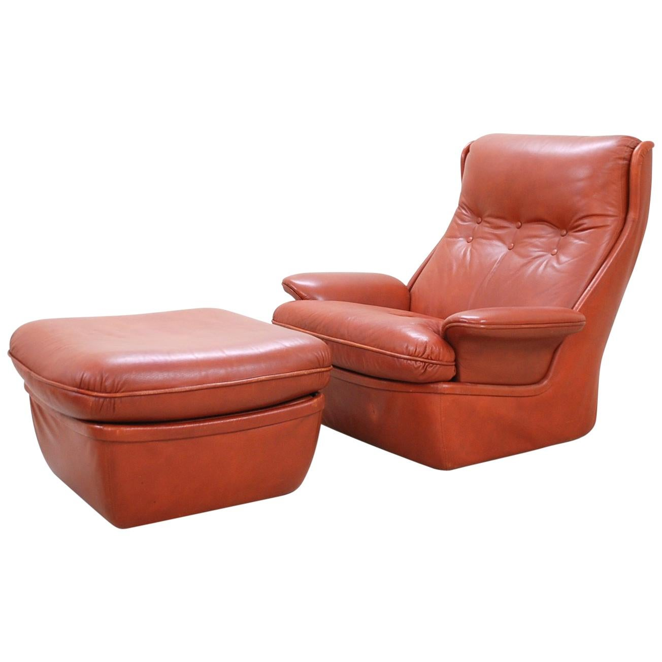 1970 Space Age Ox Red Leather Lounge Chair and Ottoman